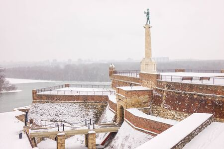view of Belgrade Monument Victor under the snow Publikacyjne