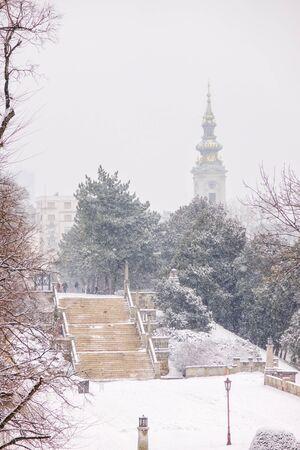 park under snow in Belgrade, note shallow depth of field