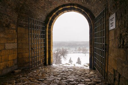 view from the passage on the fort under the snow Redakční