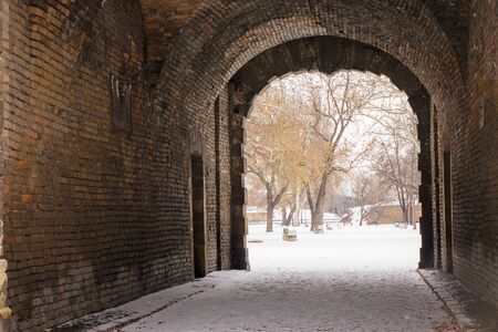 view from the passage on the fort under the snow, note shallow depth of field