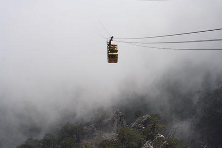 ropeway: Rope-way in clouds