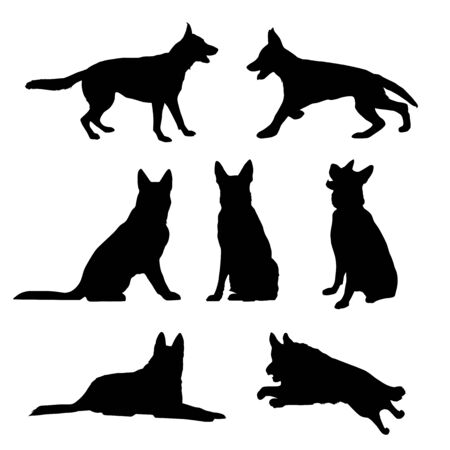 Black silhouette of a sitting German Shepherd. vector Vettoriali