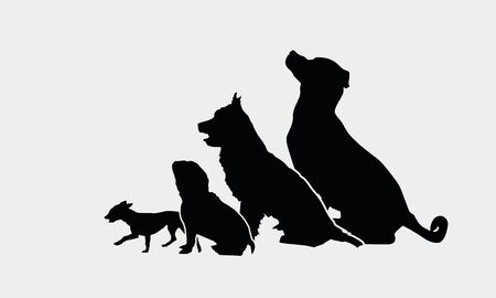 Black Sitting Dog Silhouettes. Vector Illustration