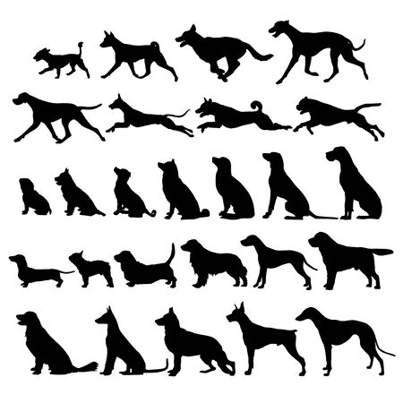 Vector image of silhouettes of the dog. icon 向量圖像