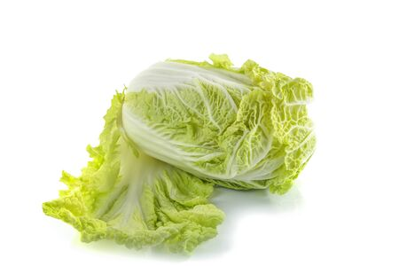 Peking cabbage close-up on a white isolated background, free space, space for text
