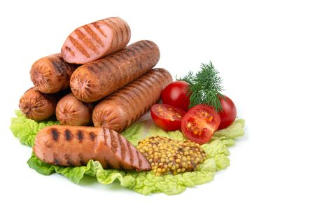 delicious grilled sausages,cherry tomatoes,dill, fried garlic, mustard sauce on a lettuce leaf, close-up, isolated white background, horizontal view