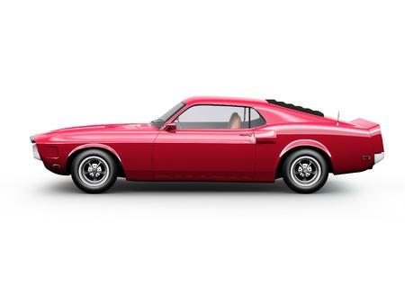 shiny car: Zijaanzicht van rode sport coupe auto