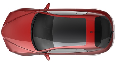 Compact red car top view photo
