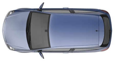 Compact blue car top view photo