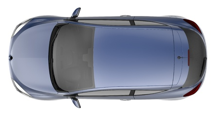 Blue hatchback car top view photo