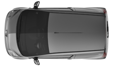 Black hatchback car top view photo