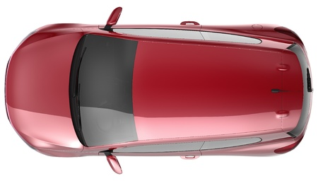 Red compact car top view photo