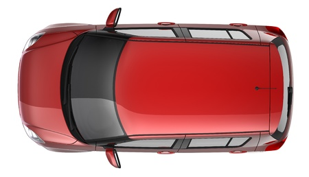 compact: Red hatchback top view Stock Photo