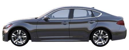 Side view of a black sedan car photo