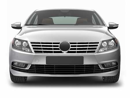 car front: FRONT VIEW OF SILVER CAR Stock Photo