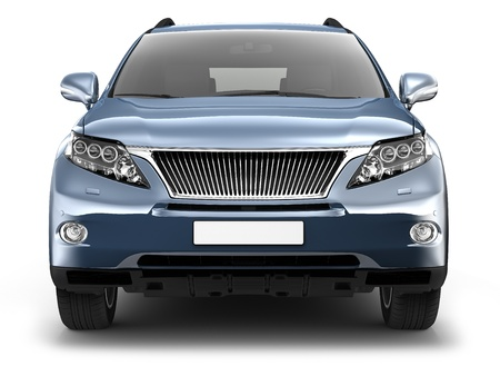 headlights: Blue SUV car Stock Photo