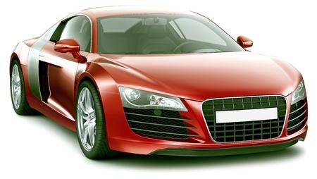 Red sporty premium-class car