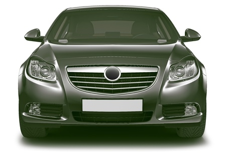 front of: Front view of black sedan car Stock Photo