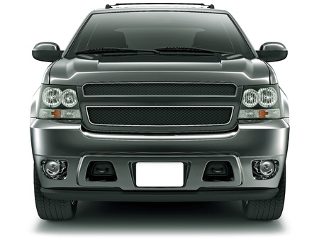 front bumper: Front view of black suv