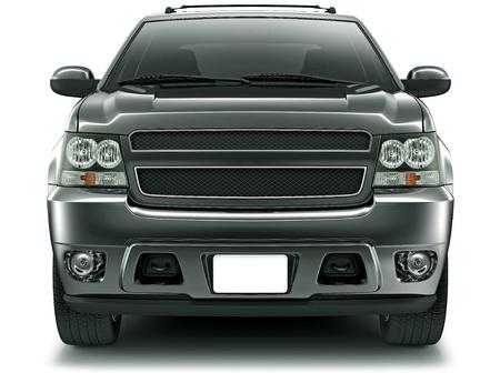 camioneta pick up: Vista frontal del vehículo todoterreno negro