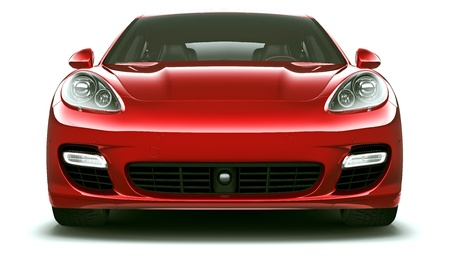 headlights: Front view of red luxury car  Stock Photo