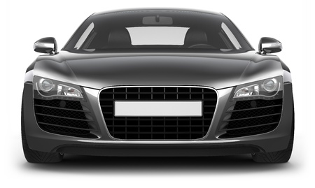 front: Front view of sporty premium-class car Stock Photo
