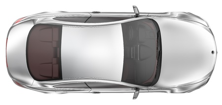 roof top: Elegant sport coupe car - Top View