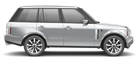 Silver luxury SUV Stock Photo