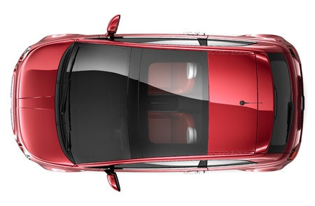 COMPACT RED CAR- top view