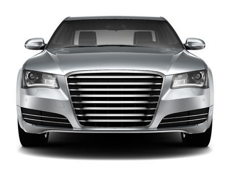 front bumper: LUXURY SEDAN - front view Stock Photo