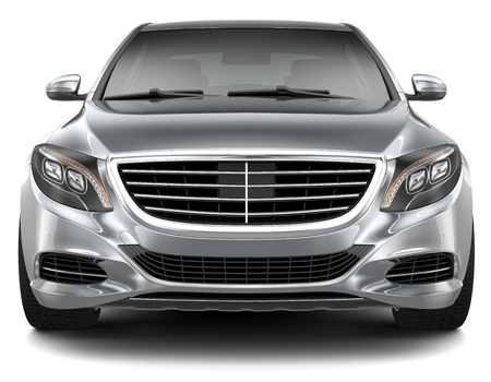 car front: Full-size luxury car - front view Stock Photo