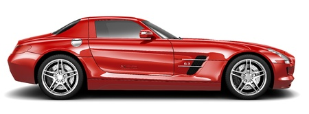 side by side: Luxury red sport coupe - side view