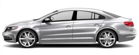 Silver sedan - side view Stock Photo