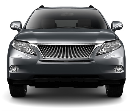 BLACK LUXURY SUV - front view Stock Photo - 21745752