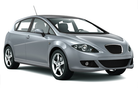 hatchback: Compact silver car  Stock Photo