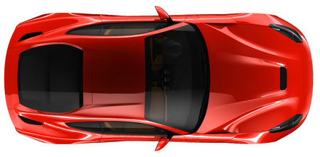 Red coupe - top view