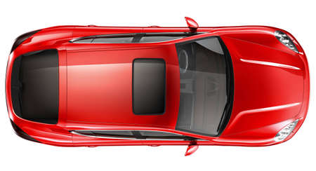 top: Red sports car - top view