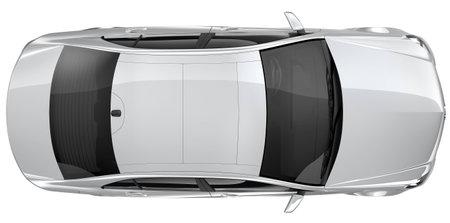 vista superior: Coche de plata - la vista superior