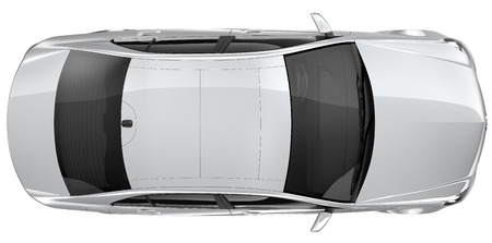 Silver car - top view