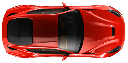 Red coupe - top view  Imagens