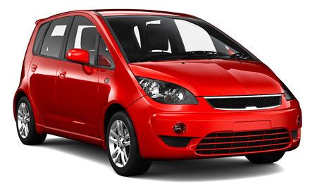 小型の赤い車