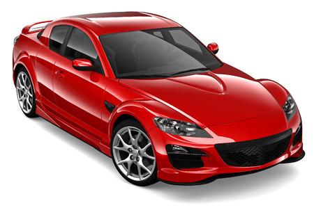 赤いクーペの車 写真素材