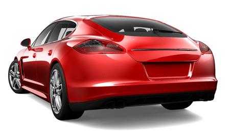 3 D 赤の高級車のリアビュー 写真素材