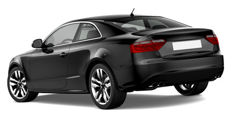 sedan: 3D BLACK COUPE CAR