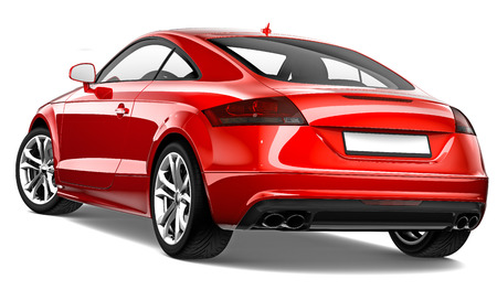 coupe: 3D Red coupe - rear view