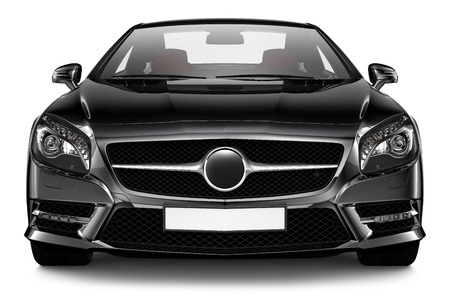 front bumper: Black sport coupe Stock Photo