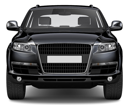 3D BLACK SUV Stock Photo