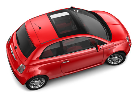 salon background: Red car - top angle Stock Photo