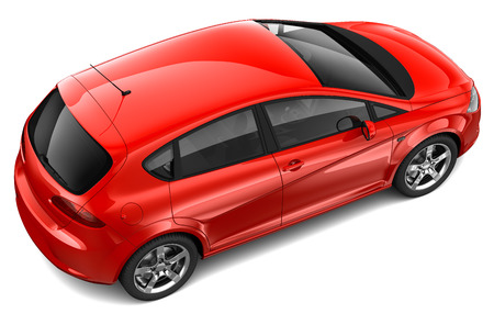 Red family car - top angle