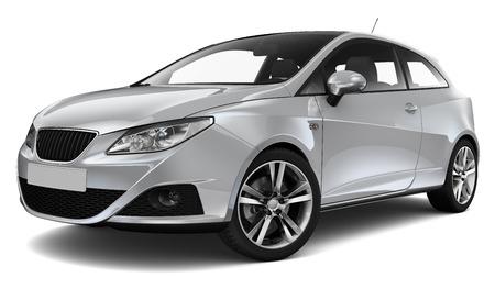 shiny car: Compact silver car